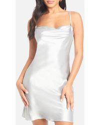 Bebe Satin Cowl Neck Slip Mini Dress - Metallic