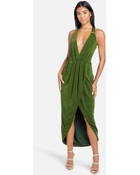 Bebe Asymmetrical Halter Neck Slinky Dress - Green
