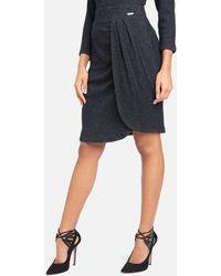 Bebe High Waist Heathered Knit Wrap Skirt - Gray
