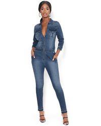Bebe Denim Zip Skinny Jumpsuit - Blue
