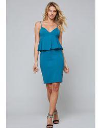 Bebe - Empire Waist Peplum Dress - Lyst