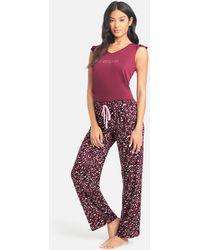 Bebe Printed Pant Set - Purple