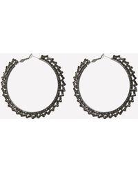 Bebe - Black Crystal Hoop Earrings - Lyst