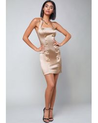 Bebe - Tiana Button Halter Dress - Lyst