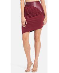 Bebe Vegan Leather Asymmetrical Skirt - Red