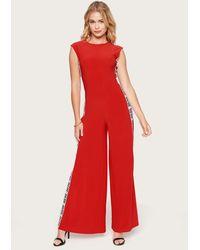 Bebe Logo Side Stripe Jumpsuit - Red