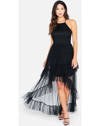 Bebe Halter Neck Ruffle Hi Low - Black