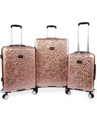 Bebe Embossed 3 Piece Luggage Set - Multicolor