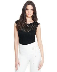 Bebe Short Sleeve All Over Lace Bodysuit - Black