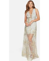 Bebe Embroidered Deep V Gown - Multicolour