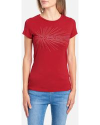 Bebe Logo Dotted Graphic Tee Shirt - Red