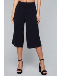 Bebe - Crepe Wide Leg Crop Pants - Lyst