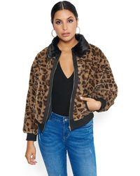 Bebe Leopard Bomber Jacket - Brown