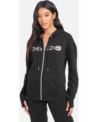 Bebe Sport Sequin Logo Zip Up Jacket - Black