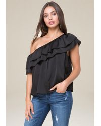 Bebe - One Shoulder Asymmetric Top - Lyst