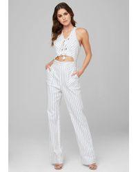 Bebe Metallic Stripe Jumpsuit
