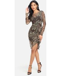Bebe Long Sleeve Mesh Ruched Dress - Multicolor