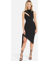 Bebe Asymmetrical Hem Slinky Midi Dress - Black