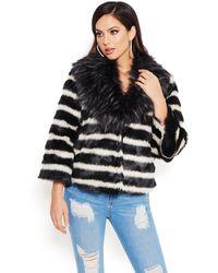 Bebe Mixed Faux Fur Jacket - Black