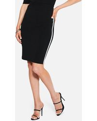 Bebe Panel Sweater Skirt With Piping - Black