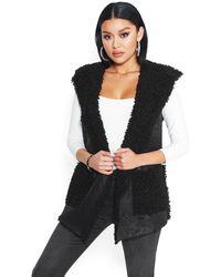 Bebe Sherpa Hoodie Vest - Black