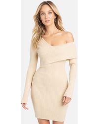 Bebe Asymmetrical Off Shoulder Sweater Dress - Natural