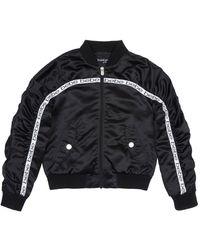 Bebe Girls Satin Bomber Jacket - Black