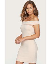 Bebe - Mesh Inset Off Shoulder Dress - Lyst