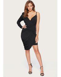Bebe Shirred One Shoulder Dress - Black