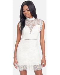 Bebe Ruffle Mock Neck Lace Dress - White