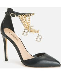 Bebe Decor Ankle Strap Heels Shoe - Black