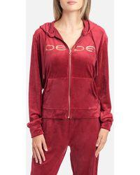 Bebe Logo Velour Hoodie Jacket - Red