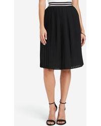 Bebe Pleated Chiffon Midi Skirt - Black