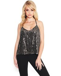 Bebe Sequin Tank Top - Black