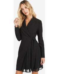 Bebe Tie Front Pleated Blazer Dress - Black
