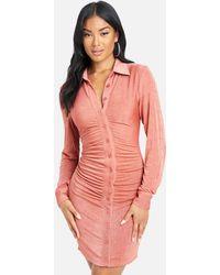 Bebe Shirred Front Polo Dress - Pink