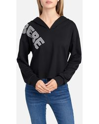 Bebe Logo Hooded French Terry Top - Black