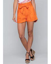Bebe - Linen Paper Bag Shorts - Lyst