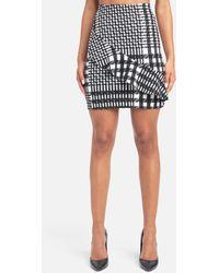 Bebe Houndstooth Ruffle Mini Skirt - Black