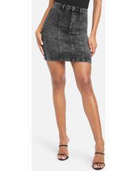 Bebe Acid Wash Jean Mini Skirt - Black