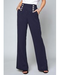 Bebe - Avery Striped Lace Up Trousers - Lyst