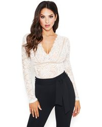 Bebe Scalloped Lace Bodysuit - White