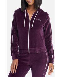 Bebe Logo Velour Zip Up Jacket - Purple