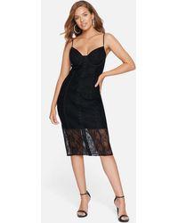 Bebe Lace Bustier Midi Dress - Black
