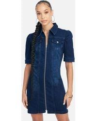 Bebe 3/4 Sleeve Denim Zip Up Dress - Blue