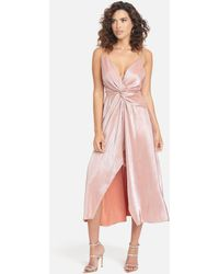 Bebe Twist Front High Slit Gown - Pink