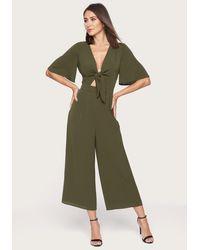 Bebe Tie Front Culotte Jumpsuit - Green
