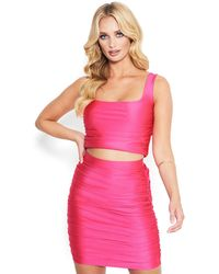 Bebe Disco Knit Crop Top - Pink