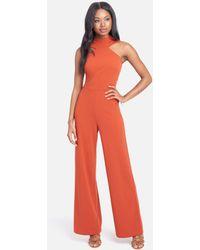 Bebe Wide Leg Halter Jumpsuit - Red