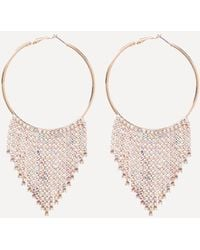 Bebe - Crystal Trim Hoop Earrings - Lyst